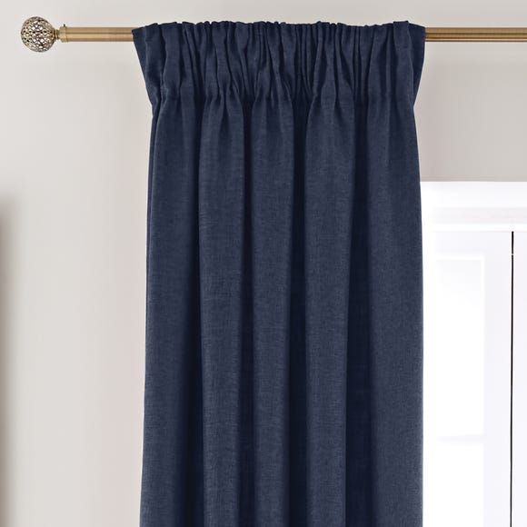 Vermont Navy Pencil Pleat Curtains  undefined