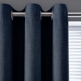 Vermont Navy Eyelet Curtains