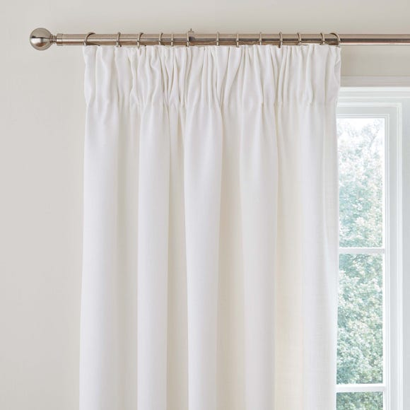 Vermont White Pencil Pleat Curtains White undefined