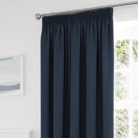 Tyla Navy Blackout Pencil Pleat Curtains