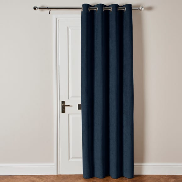 Cloudmont Chenille Navy Thermal Eyelet Door Curtain  undefined