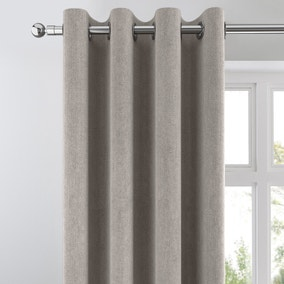 Cloudmont Chenille Dove Grey Thermal Eyelet Curtains
