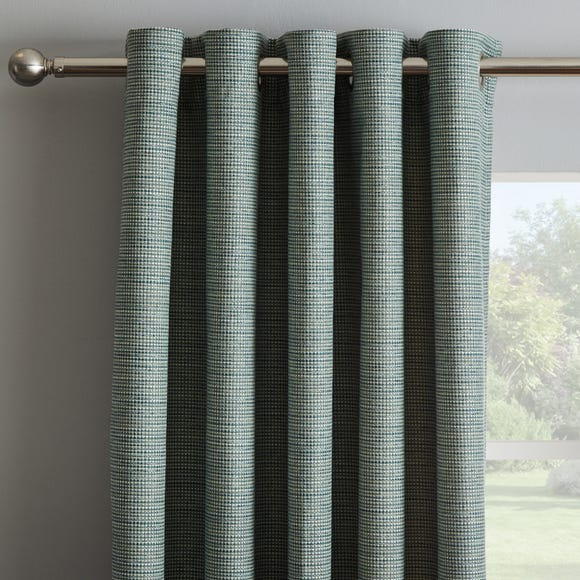 Textured Weave Teal Thermal Eyelet Curtains Teal (Blue) undefined