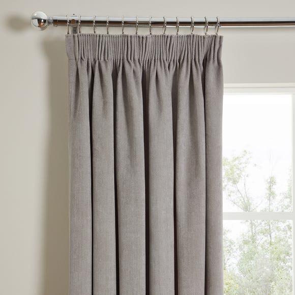 Cloudmont Chenille Dove Grey Thermal Pencil Pleat Curtains  undefined