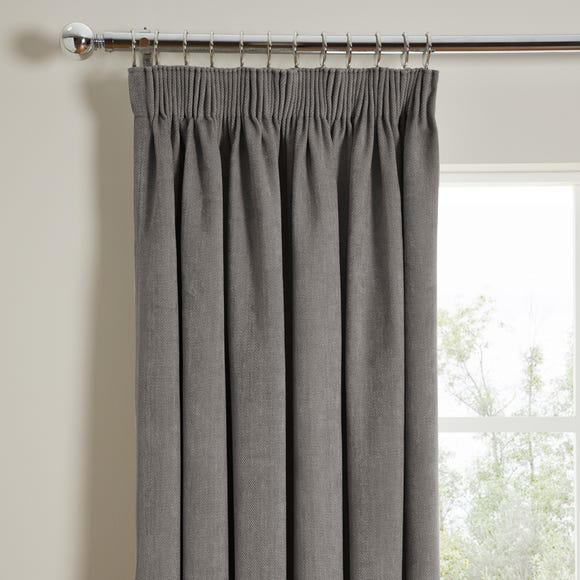 Cloudmont Chenille Charcoal Thermal Pencil Pleat Curtains  undefined