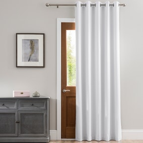 Luna Brushed White Blackout Eyelet Door Curtain