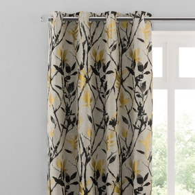 Zen Gold Jacquard Eyelet Curtains