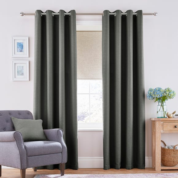 Henley Charcoal Eyelet Curtains Charcoal undefined