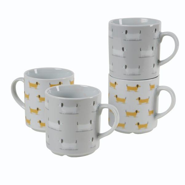 Bertie Sausage Dog Stacking Mugs Grey