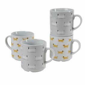 Bertie Sausage Dog Stacking Mugs