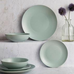 Stoneware 12 Piece Seafoam Blue Dinner Set