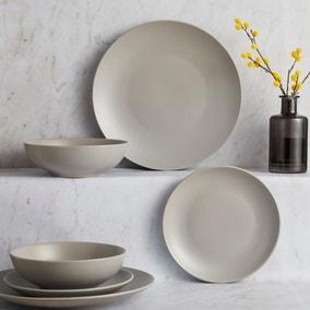 Stoneware 12 Piece Grey Dinner Set
