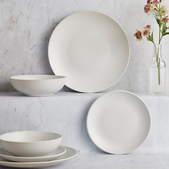 Stoneware 12 Piece Natural Dinner Set Cream
