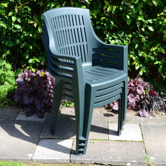 Trabella Parma Set of 4 Chairs Dark Green