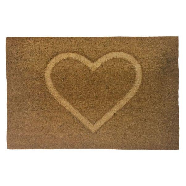 Heart Pressed Coir Doormat Natural