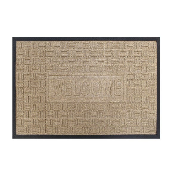 Large Cross Hatch Doormat Beige