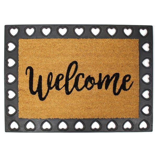 Welcome Decorative Border Doormat Natural