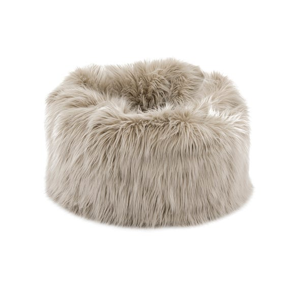 Skylar Mongolian Faux Fur Small Lounger - Champagne Champagne