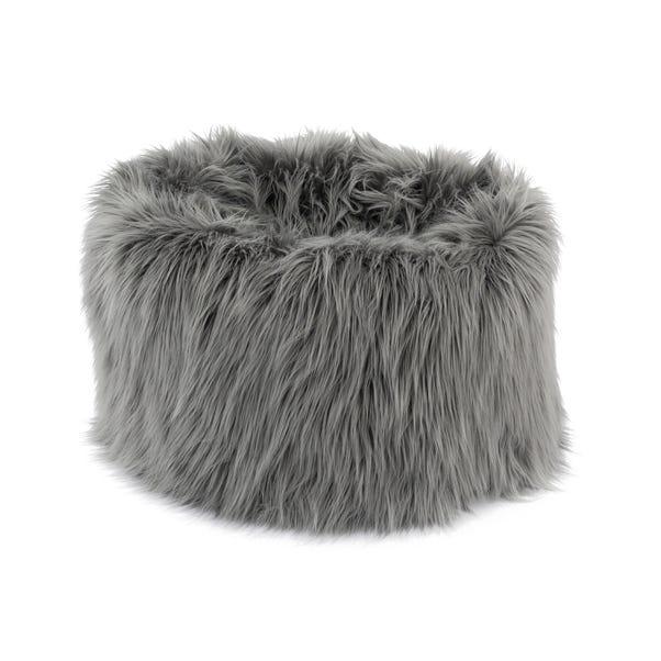 Skylar Mongolian Faux Fur Small Lounger - Grey Grey