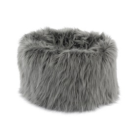 Skylar Mongolian Faux Fur Small Lounger - Grey