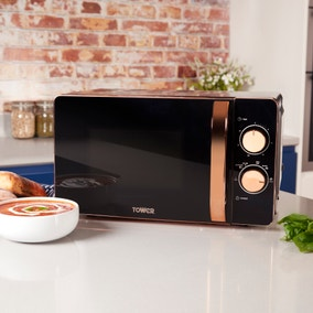 Tower 20L 800W Manual Black & Rose Gold Microwave