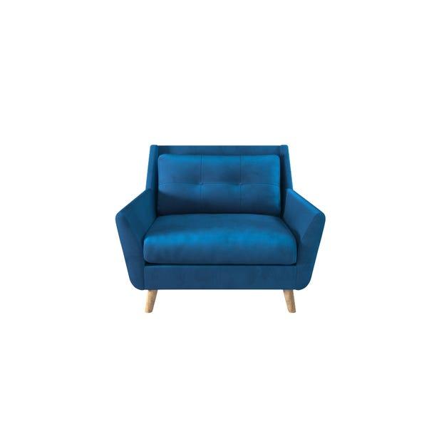 Halston Velvet Snuggle Chair Blue