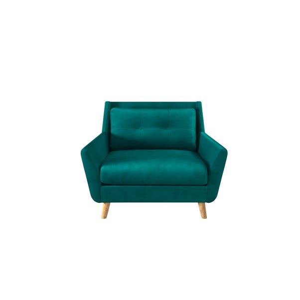 Halston Velvet Snuggle Chair Dark Green