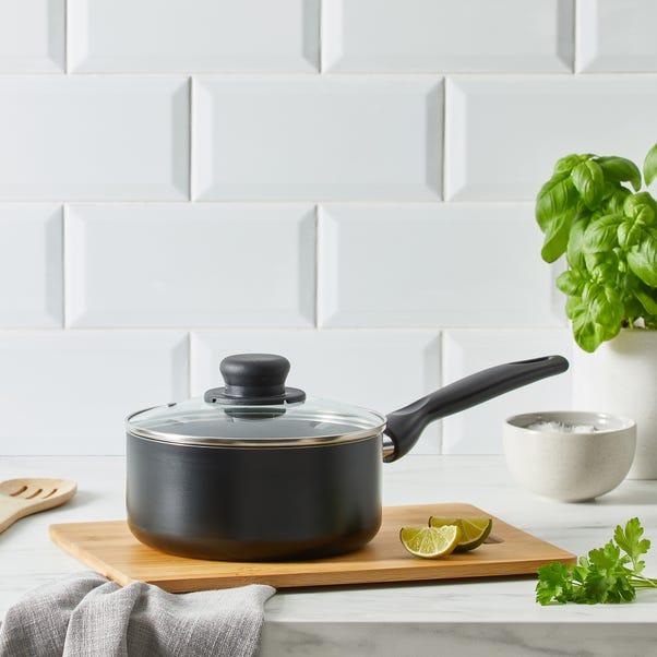 Dunelm Essentials Aluminium 18cm Saucepan Black