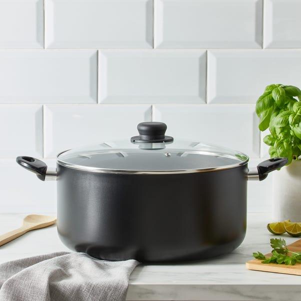 Dunelm Essentials Aluminium 32cm Stock Pot Black