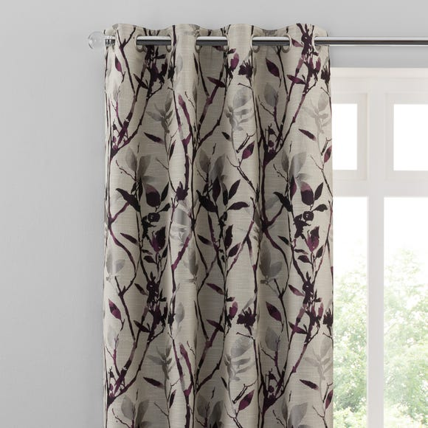 Zen Plum Jacquard Eyelet Curtains  undefined