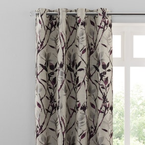 Zen Plum Jacquard Eyelet Curtains
