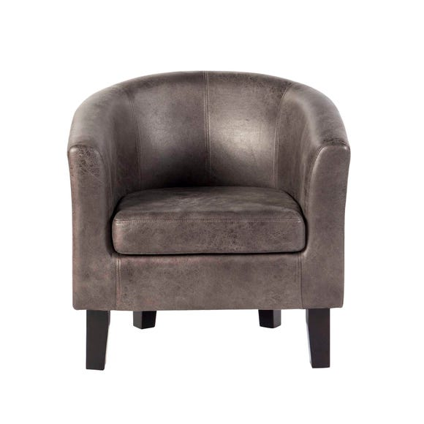 Faux Leather Tub Chair - Grey