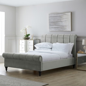 Classic Grey Pleated Bed