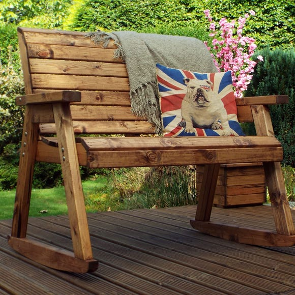 Charles Taylor 2 Seater Wooden Rocking Bench Wood (Brown)