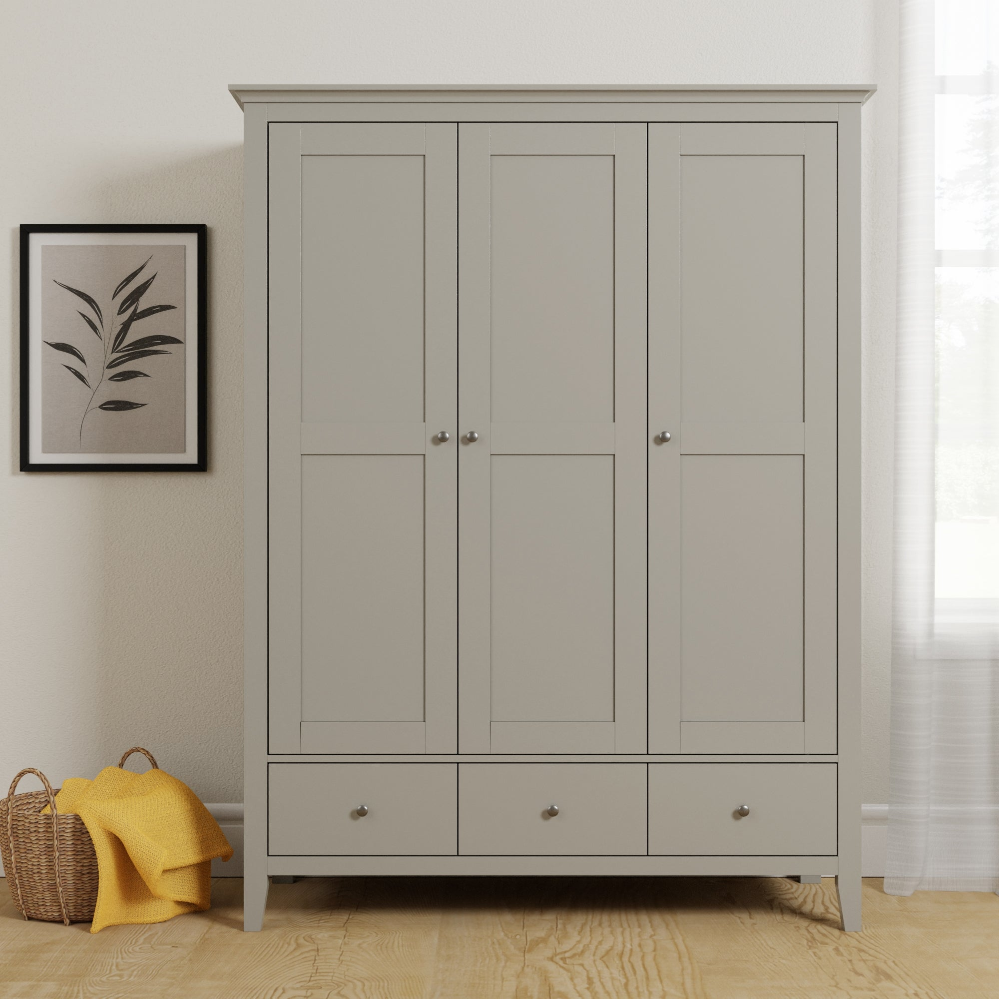 Dunelm Lynton Grey Triple Wardrobe Grey |