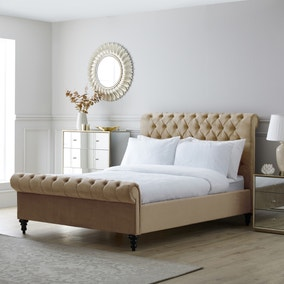 Classic Taupe Chesterfield Bed