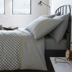 Racing Green Soho Grey Duvet Cover and Pillowcase Set
