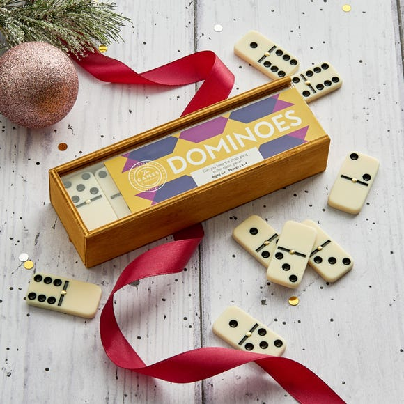 Dominoes in Wooden Box MultiColoured