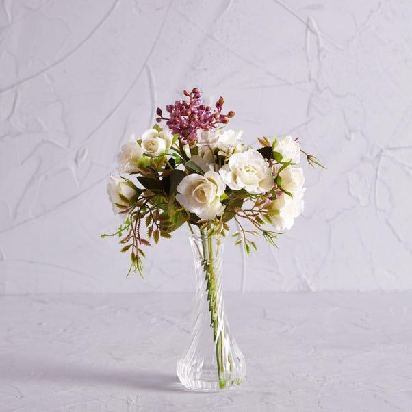 Artificial Rose Cream and Berries in Twist Vase 30cm Natural