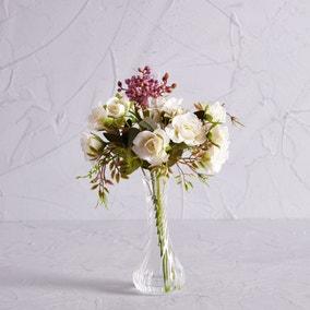 Artificial Rose Cream and Berries in Twist Vase 30cm