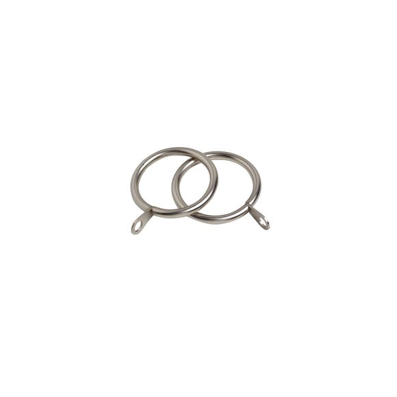Oslo Pack of 6 Satin Silver Curtain Rings Dia. 38mm Satin Silver