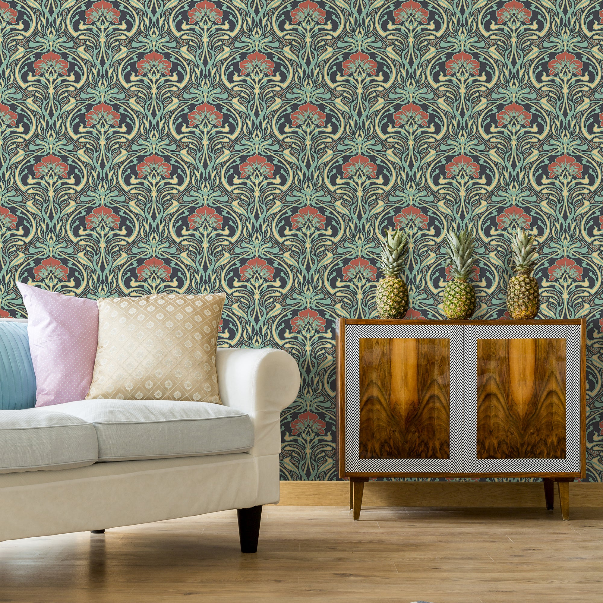 Click to view product details and reviews for Flora Nouveau Peacock Green Wallpaper Green Grey And Orange.