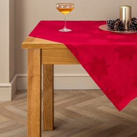 Poinsettia Red Jacquard Tablecloth