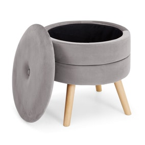 Gisela Storage Footstool - Grey