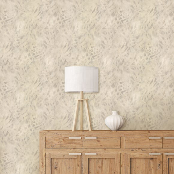 Textured Cream Leopard Wallpaper Natural
