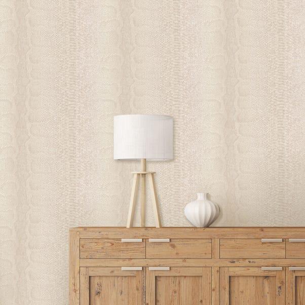 Textured Cream Snake Wallpaper Natural