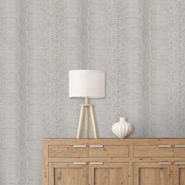Textured Grey Snake Wallpaper Grey