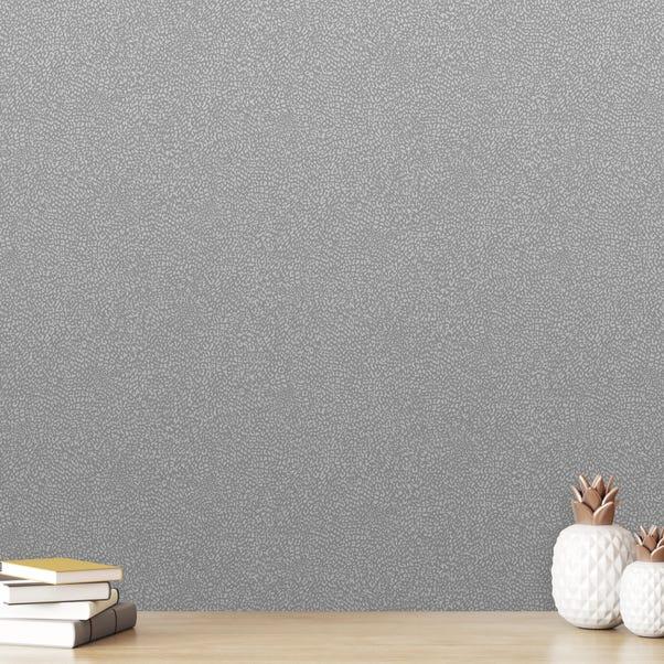 Grey Glitter Leopard Wallpaper Silver