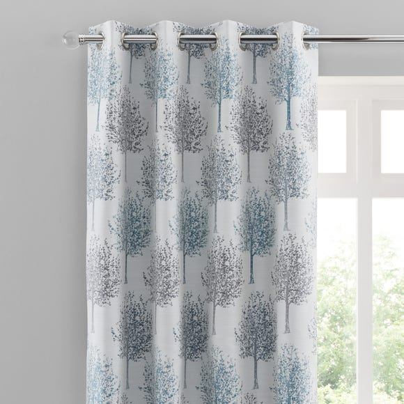 Jacquard Trees Teal Eyelet Curtains  undefined