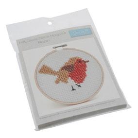 Robin Cross Stitch Hoop Kit